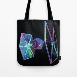 TIE Fighter Sci-fi Classic Movie Abstract Painting The dark Side Tote Bag