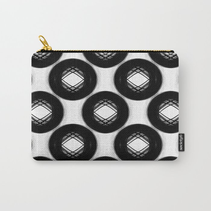 Abstract Cycle Pattern No.1 Black and White Carry-All Pouch