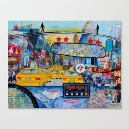 Times Square New York Yellow Taxi View Canvas Print