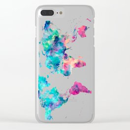 World Map Turquoise Pink Blue Green Clear iPhone Case