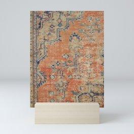 Vintage Woven Navy and Orange Mini Art Print