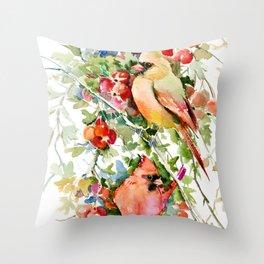 Cardinal Birds and Hawthorn Throw Pillow