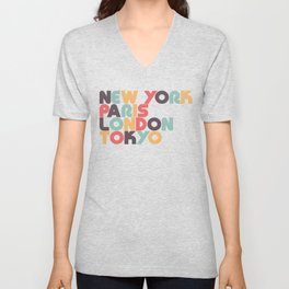Retro New York Paris London Tokyo Typography Unisex V-Neck