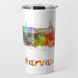Harvard skyline in watercolor Travel Mug