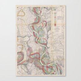 Harold N. Fisk Plate 22-13 Mississippi River Meander Belt Canvas Print