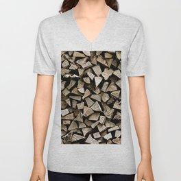 firewood pattern Unisex V-Neck