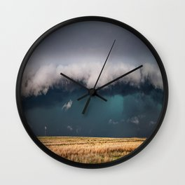 Small - Large Storm Towering Over Windmill in Texas Wall Clock