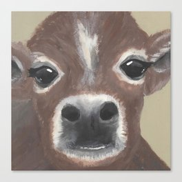 Original Painting - Farmyard Friends - Calf - Cute cow painting Canvas Print