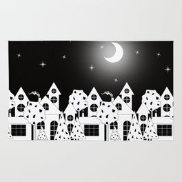 Fabulous houses, trees against the night sky. Rug
