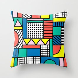 Memphis Color Block Throw Pillow