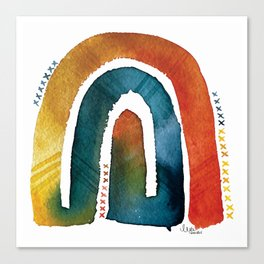 'connected bow' rainbow Canvas Print