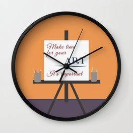 Make Time For Art (Colorful Calligraphy) Wall Clock