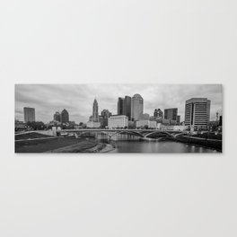 Columbus Ohio Skyline Riverfront Panorama - Black and White Canvas Print