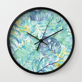 Modern teal green yellow watercolor tropical leaves Wall Clock