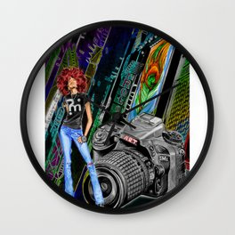 FUNKYTOWN (featuring Sancha McBurnie as a model, along with her photography work) Wall Clock