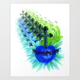 Sacred Heart, blue Art Print