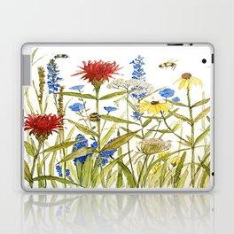 Garden Flower Bees Contemporary Illustration Painting Laptop & iPad Skin