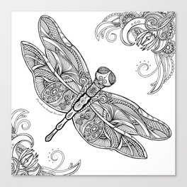 Fly with me through the wind, my dragonfly. Canvas Print