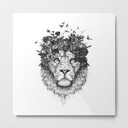 Floral lion (b&w) Metal Print