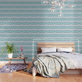Concentric Circles and Stripes in Teals Wallpaper