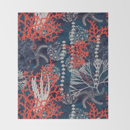 Corals and Starfish Throw Blanket