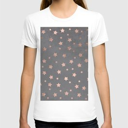 Rose gold Christmas stars geometric pattern grey graphite industrial cement concrete T-shirt