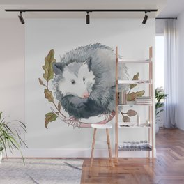 Possum and Oak Leaves Wall Mural