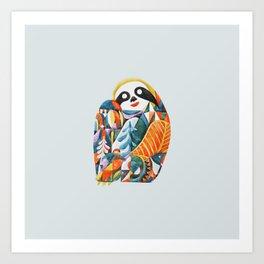 Nordic Sloth Watercolor Art Print