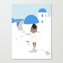 Fashion Girl Wandering the Steps of Santorini, Greece Canvas Print