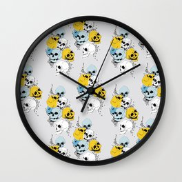 Modern, Blue, Yellow and White Skull Design Wall Clock