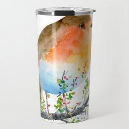 Watercolor Robin on Berry Branch Travel Mug