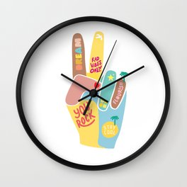 Motivational Peace Fingers Wall Clock