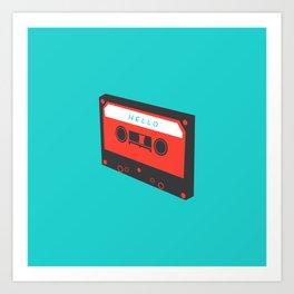 Hello tape red on blue Art Print