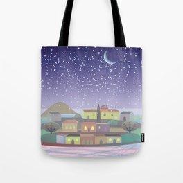 Snowing Village at Night (Square) Tote Bag