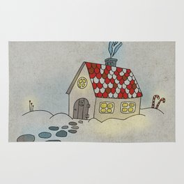 Winter Evening in Tiny Gingerbread House Rug