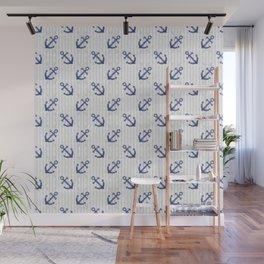 Navy Blue Anchor Pattern Wall Mural