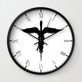 Caduceus Medical Symbol Isolated Wall Clock