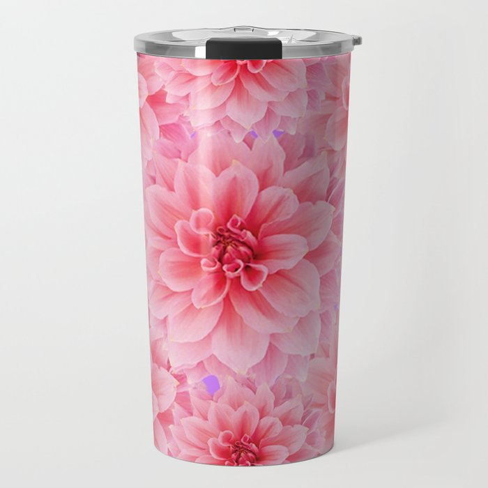 PINK DAHLIA FLOWERS IN RED COLOR ART Travel Mug