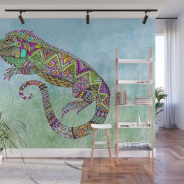 Electric Iguana Wall Mural