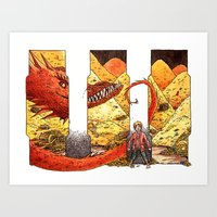 smaug Art Prints featuring Smaug by CatInSpats