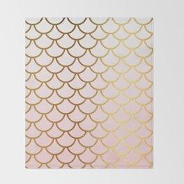 Pink Gradient And Gold Foil MermaidScales - Mermaid Scales Throw Blanket
