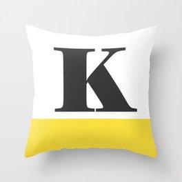 Monogram Letter K-Pantone-Buttercup Throw Pillow