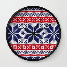 Winter knitted pattern 7 Wall Clock
