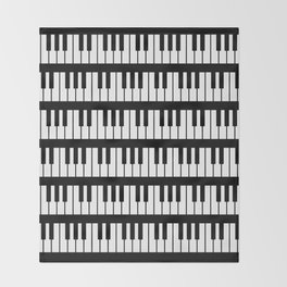 Black And White Piano Keys Pattern Throw Blanket