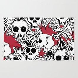 Seamles pattern. Crazy punk rock abstract background. Skulls,stars, rock symbols Rug