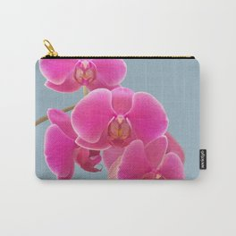Orchids Photo to Paint on Blue Carry-All Pouch