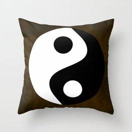 Yin and Yang - Brown Throw Pillow