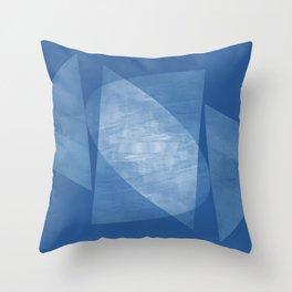 Blue Geometric Abstract Mid Century Modern Throw Pillow