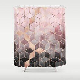pink grey shower curtain. Pink And Grey Grant Cubes Shower Curtain  Flisol Home
