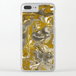 Brown and grey Marble texture acrylic Liquid paint art Clear iPhone Case